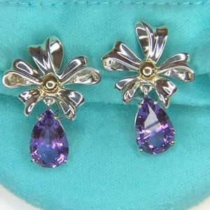 Silver & Gold Amethyst Ribbon Retired Earrings